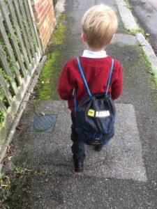 My eldest on his way to school