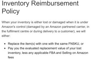 Amazon's inventory reimbursement policy