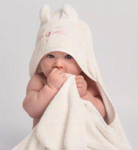 Baby in hooded towel