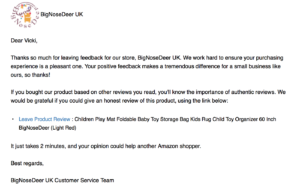 Example feedback email