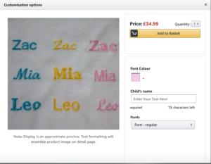 Add to basket screenshot for Amazon custom product