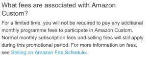 Fees associated with Amazon Custom