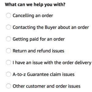 Screen Shot Amazon customer support