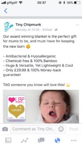 Screenshot of Tiny Chipmunk Facebook ad